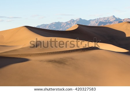 mesquite sand dunes in death valley - stock photo