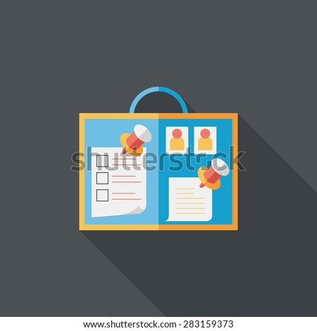 message board flat icon with long shadow - stock photo