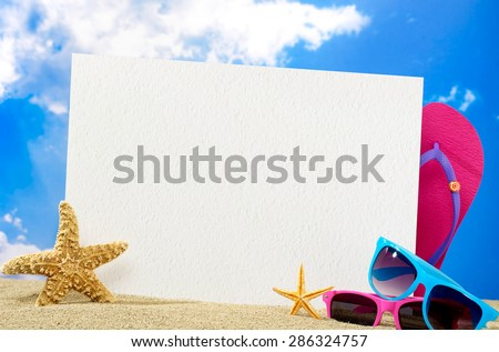 Message board on beach - stock photo