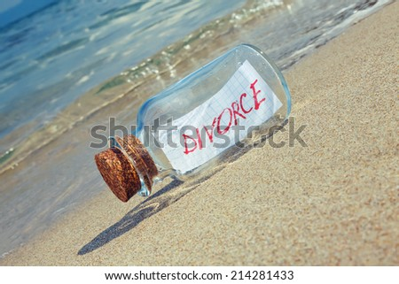 Message in a bottle with text Divorce - stock photo
