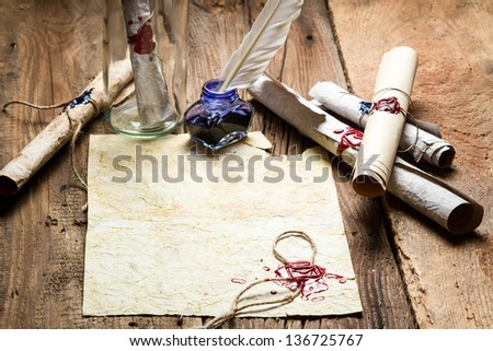 Message in bottle with a sealed message - stock photo