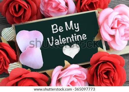 message of be my valentine with heart - stock photo