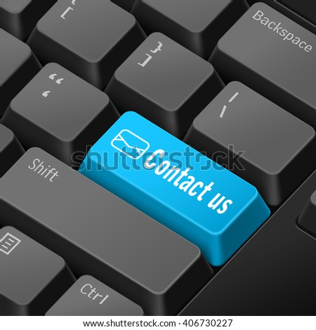 message on keyboard enter key for contact us concepts. 3D rendering - stock photo