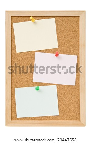 Message papers on the cork board - stock photo
