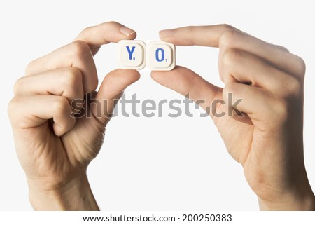 message with the word yo - stock photo