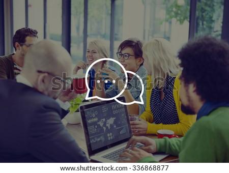Messaging Talking Icon Communication Conversation Concept - stock photo