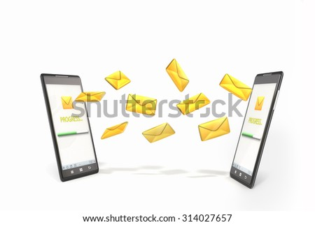 messaging, texting, chatting 3d concept - two phones with message icons - stock photo