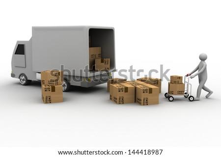 Messenger delivering a parcel in an international transport - stock photo