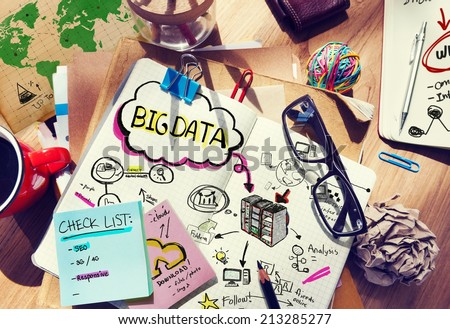 Messy Desk with Big Data Related Notes - stock photo