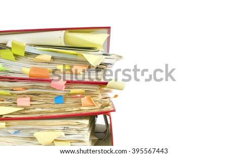 messy file folders and documents, isolated on white background - stock photo