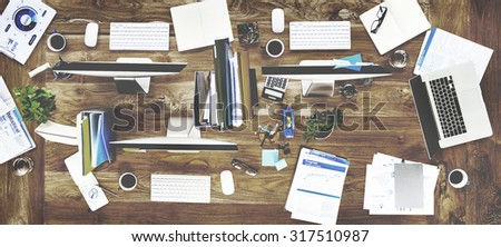 Messy Office Contemporary Workplace No People Concept - stock photo