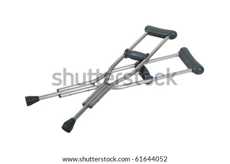 Metal adjustable crutches to assist when walking short distances - Path included - stock photo