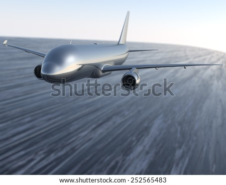 Metal aircraft moving through air - stock photo