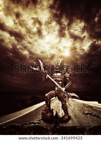 Metal Alien warrior on earth  - stock photo