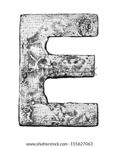 Metal alloy alphabet letter E - stock photo