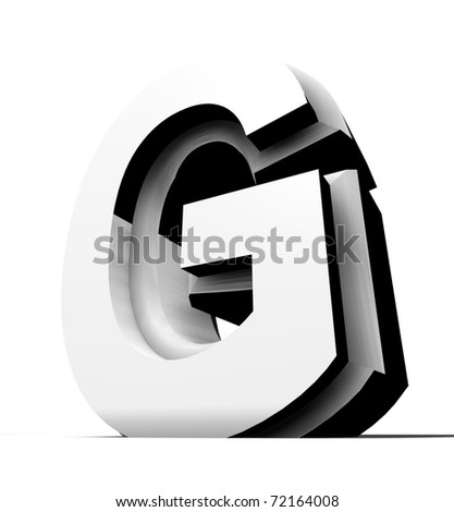 metal alphabet isolated on white; modern design - stock photo