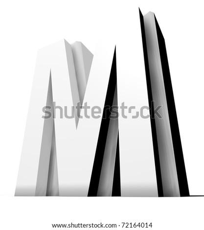 metal alphabet isolated on white; modern design - stock photo