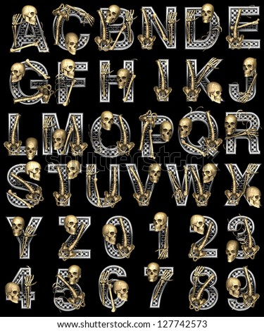Metal alphabet with skeleton on black - stock photo