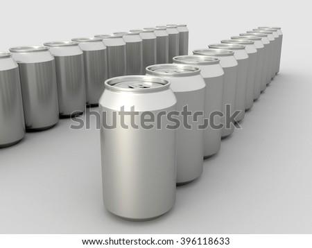 Metal Aluminum Beverage Drink Cans. 3D illustration. - stock photo