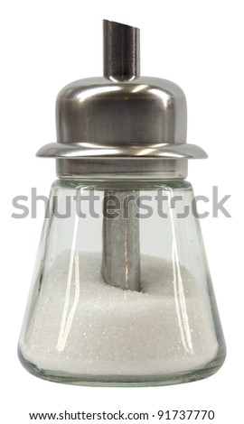 Metal and glass sugar shaker isolated on white - stock photo