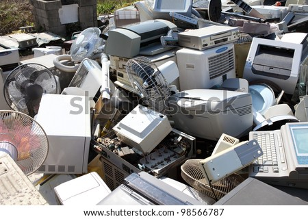 Metal and plastic recycling, home electronics - stock photo