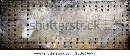 Metal and rivet grunge background - stock photo