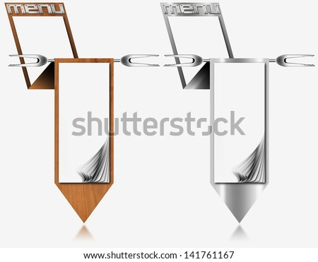 Metal and Wood Menu Blank Pages / Two vertical restaurant metal menu with blank pages and fork - stock photo