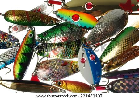 Metal angling baits. Fishing  lures (spoons) - stock photo