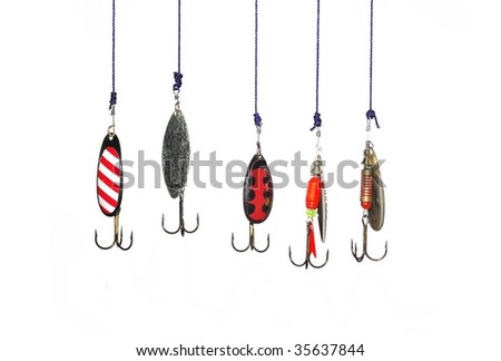 metal angling baits on white background - stock photo