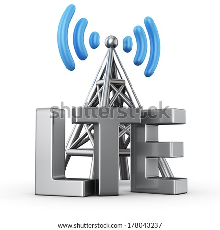 Metal antenna symbol with letters LTE on white - stock photo