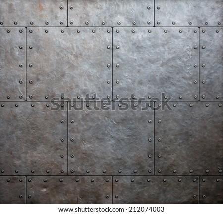 metal armor plates background - stock photo