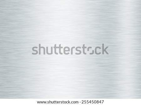 Metal background or texture of brushed steel plate with reflections - stock photo