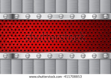 Metal background, red perforated element with rivets. Illustration. Raster version  - stock photo