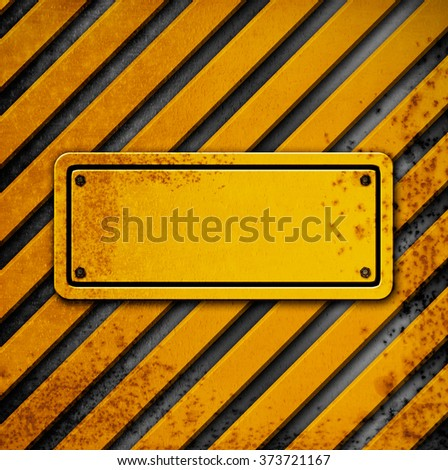 Metal background with a yellow warning stripes - stock photo
