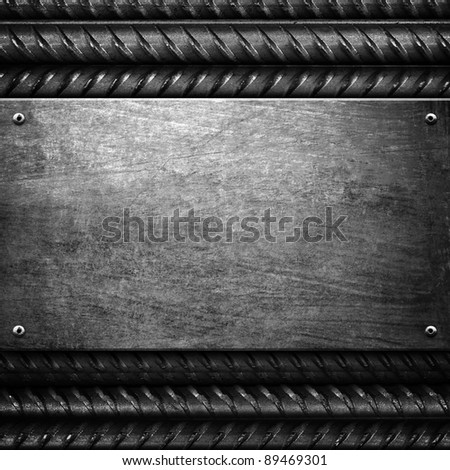 metal background with steel bar - stock photo