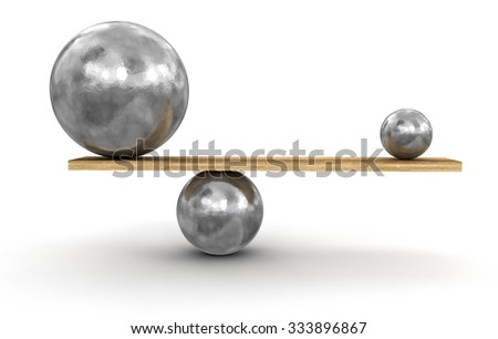 Metal balls balanced on plank. Image with clipping path - stock photo