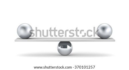 Metal balls on plank - balanced concept - stock photo