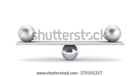 Metal balls on plank - balanced concept - stock photo