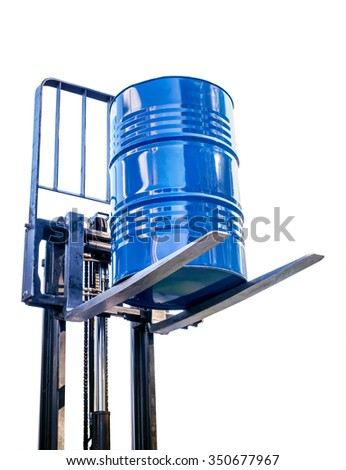 Metal barrel from the chemical industry on the fork truck isolated on a white background - stock photo