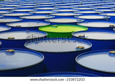 metal barrels of blue color - stock photo