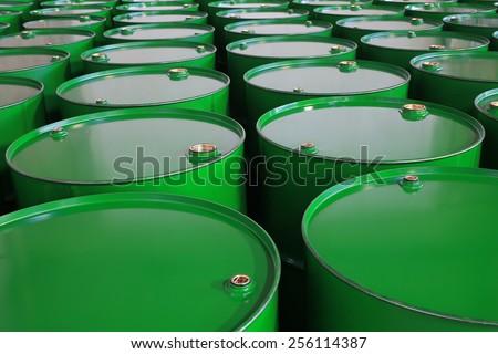 metal barrels of green color - stock photo