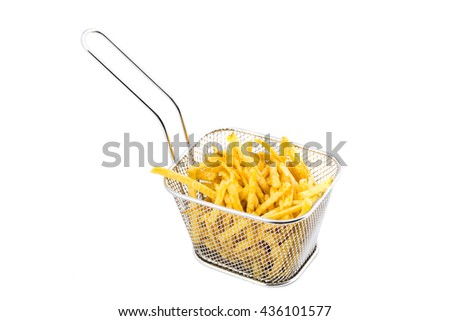 Metal basket of fries isolated on white background. - stock photo