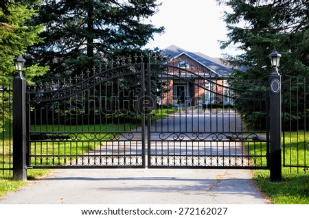 Metal black gate - stock photo