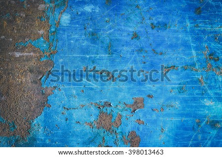Metal blue grunge old rusty scratched surface texture  - stock photo