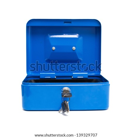 metal blue safe box isolated over white background - stock photo