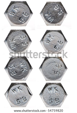 metal bolt heads - stock photo