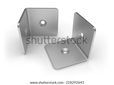 Metal brackets isolated on white - stock photo