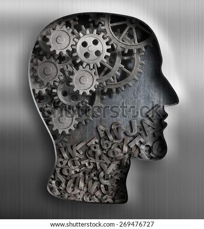 Metal brain. Thinking,  psychology, creativity, language concept. - stock photo
