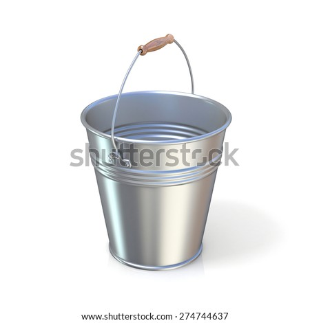 Metal bucket isolated on a white background. Raised handle - stock photo