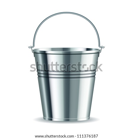 metal bucket with handle on a white background. - stock photo